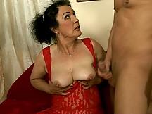 Grandma recieves a big cock